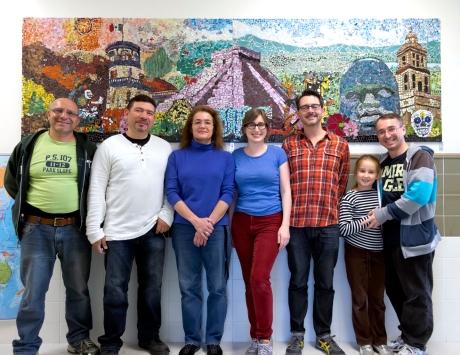 installation team! (art teacher Nanna Tannier, left in blue; Julia Whitney Barnes, right in blue and red)
