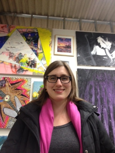 Julia Whitney Barnes with her painting (center, top) in the Brucennial.